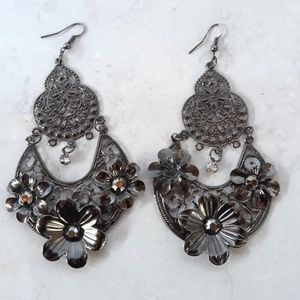 Pewter Color Metal Floral Chandelier Earings